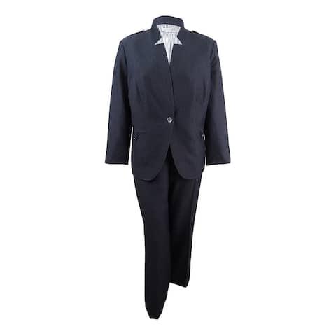 Tahari ASL Women's Plus Size One-Button Star-Neck Pantsuit (18W, Charcoal Grey) - Charcoal Grey - 18W