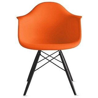 2xhome Orange Eames Dining Room Arm Chair With Black Wooden Eiffel Style Legs