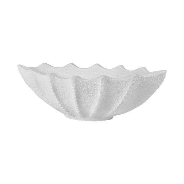 "31"" White Plaster Mermaid Fish Tail Pattern Planter - N/A"