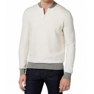 Tommy Hilfiger White Men's Size XL 1/2 Zip Longsleeve Sweater