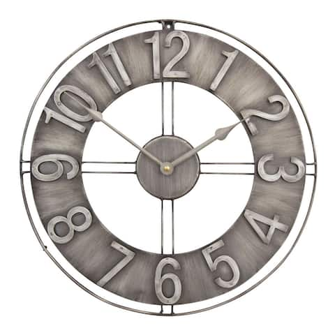 "Offex Home 15"" Industrial Loft Wall Clock - Brushed Steel"