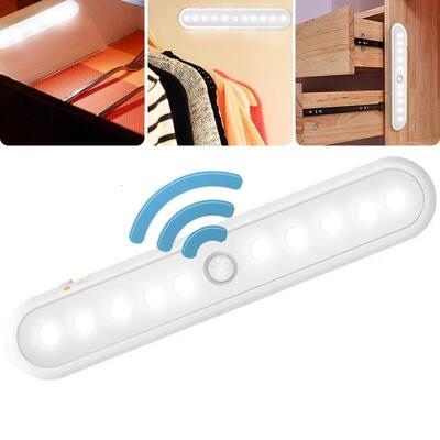 1/2/4 Pcs 10 LED Portable Cabinet Light PIR Motion Sensor Closet Kitchen Night Light