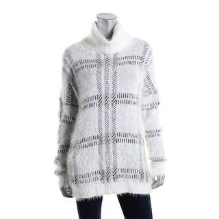 Sanctuary Womens Plaid Eyelash Pullover Sweater