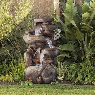 Alpine Corporation 4-tier Rock Water Fountain with LED Lights