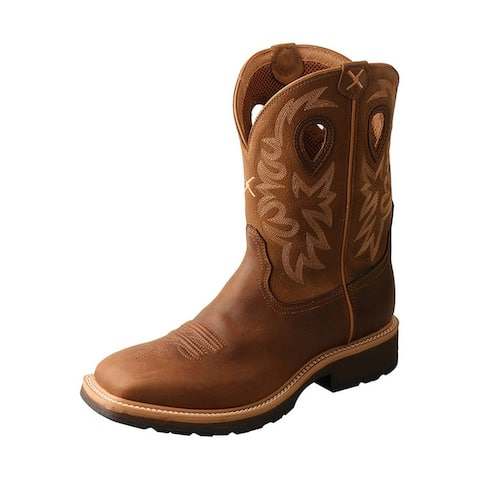 """Twisted X Work Boots Mens 11"""" Shaft WS Toe Pull On Brown"""