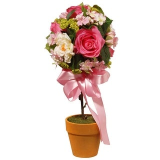 """14""""Rose and Hydrangea Topiary - N/A"""