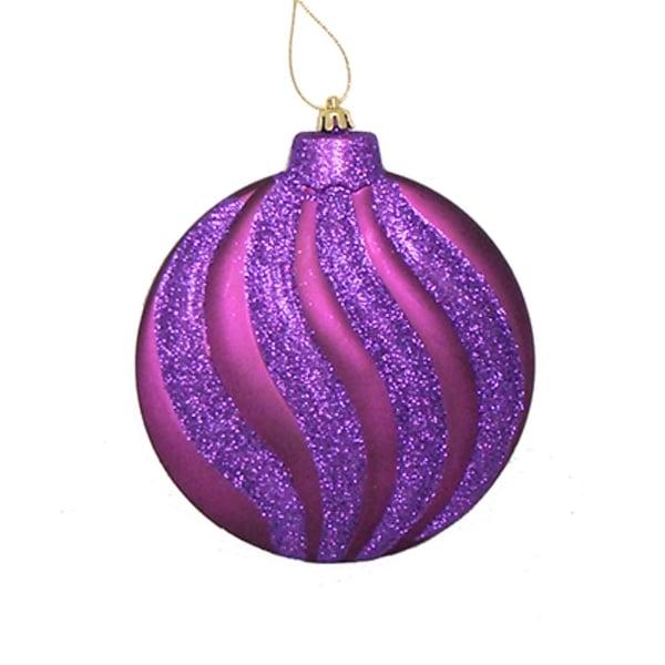 "6ct Matte Purple Glitter Swirl Shatterproof Christmas Disc Ornaments 6.25"""