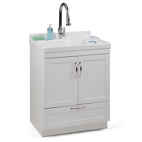 WYNDENHALL Janine Transitional 28 inch Laundry Cabinet with Pull-out Faucet and ABS Sink - 27.8'' W x 50.75'' H x 22.1'' D