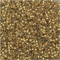Toho Round Seed Beads 15/0 989F - Frosted Gold-Lined Crystal (8 Grams)