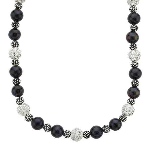 14-Inch Necklace with Swarovski Crystals and Black Freshwater Pearls in Sterling Silver