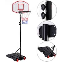 Costway Adjustable Basketball Hoop System Stand Kid Indoor Outdoor Net Goal w/ Wheels - Black
