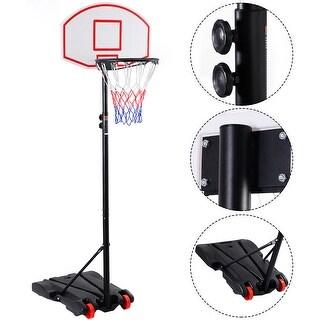 Costway Adjustable Basketball Hoop System Stand Kid Indoor Outdoor Net Goal w/ Wheels - Black