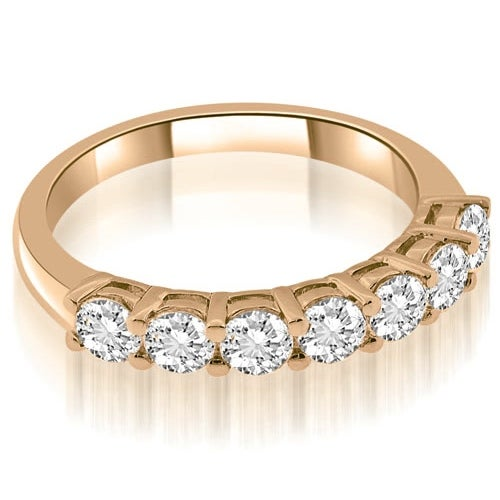 1.05 cttw. 14K Rose Gold Classic Basket Round Cut Diamond Wedding Band