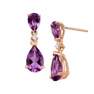 2 7/8 ct Natural Amethyst Drop Earrings with Diamonds in 14K Rose Gold - Purple