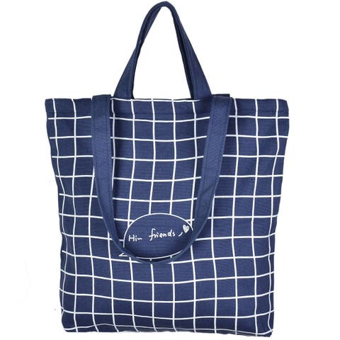 Household Canvas Plaid Pattern Zipper Closure Shopping Pouch tote Bag Dark Blue