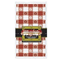 """Club Pack of 12 Red and White Gingham Disposable Plastic Rectangular Decorative Table Covers 108"""""""