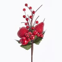 "Pack of 24 Red and Green Shiny Berry and Fruit Christmas Floral Sprays 8"" - brown"
