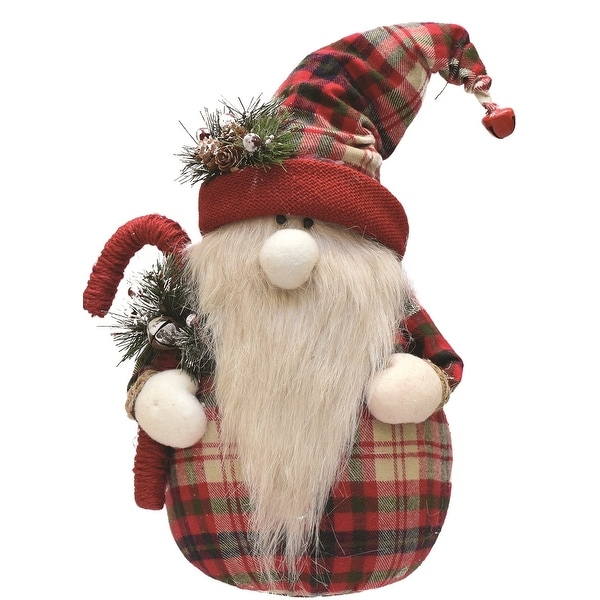 "16.25"" Red and White Plaid Sitting Santa Gnome with Candy Cane Plush Table Top Christmas Figure"