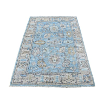 """Shahbanu Rugs Denim Blue Oushak, Soft To The Touch Wool Pile Hand Knotted Oriental Rug (4'2"""" x 6'0"""") - 4'2"""" x 6'0"""""""