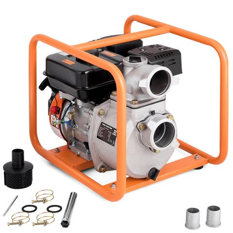Costway 3 Inch Portable Gasoline Water Transfer Pump 7HP 4-Stroke Flood Irrigation EPA - As pic