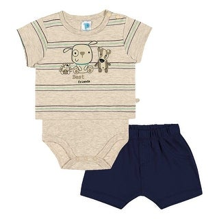 Baby Boy Outfit Graphic Bodysuit and Shorts Set Pulla Bulla Sizes 3-12 Months