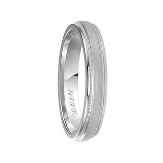 ADISON 14k White Gold Wedding Band Domed Brushed Finish Center with Milgrain Rolled Edges by Artcarved - 4mm