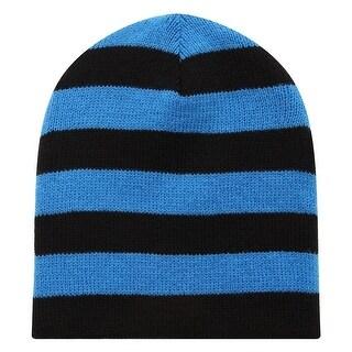Richie House Boys Black Blue Striped Knit Unlined Cap