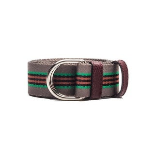 Prada Men's Striped D-Ring Nylon Belt Grey