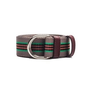 Prada Men's Striped D-Ring Nylon Belt Grey