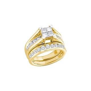 10k Yellow Gold Womens Natural Princess Invisible-set Diamond Bridal Wedding Engagement Ring Set 1/2 Ctw - White