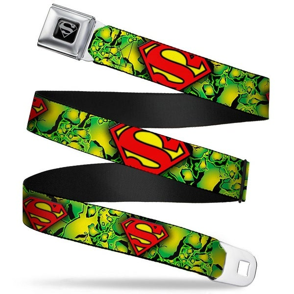Superman Black Silver Superman Shield Green Kryptonite Webbing Seatbelt Seatbelt Belt