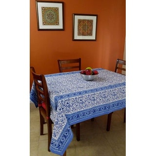 Rajasthan Block Print Floral Round Tablecloth Rectangular Cotton Table  Napkins Placemats Runner