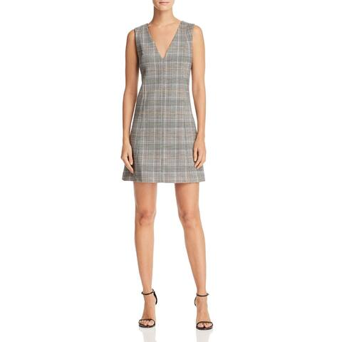 Theory Women's Dress Gray Multi Size 6 Shift Plaid A-Line V-Neck