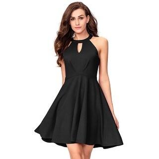 InsNova Halter Skater Little Black Cocktail Party Dress for, Black, Size Small
