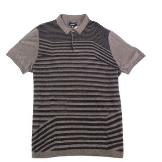 Alfani Brown Mens Size XL Short-Sleeve Knit Polo Striped Shirt