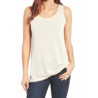 Nic+Zoe NEW Beige Womens Size Medium M Scoop Neck Crochet-Trim Tank Top
