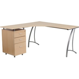 Hamlet Beech Laminate L-Shape Computer Desk w/Three Drawer Pedestal