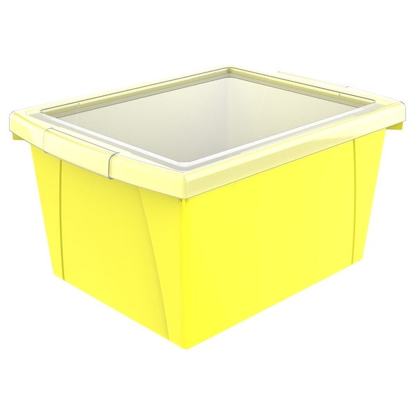 Storex Classroom Storage Bin with Lid, 4 Gallon, 13-5/8 x 11-1/4 x 7-7/8 Inches, Yellow