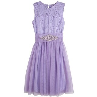 Designer Kidz Girls Lavender Lace Brooch Junior Bridesmaid Dress