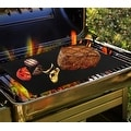 Barbeque Grilling Sheets - BBQ Grill Mat Set of 2 Heavy Duty Non Stick Reusable -Dishwasher Safe - Black - Thumbnail 3