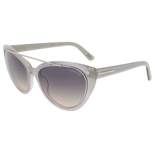 Tom Ford FT0384/S 80B Edita Clear Grey Cateye Sunglasses