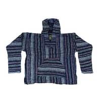 Baja Joe Indigo Stripe Eco-Friendly Cotton Pullover Hoodie
