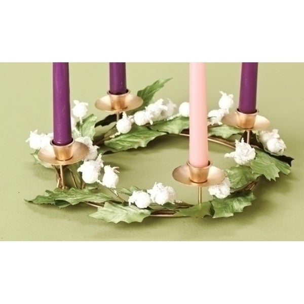 "11.5"" White Glittered Berry and Green Leaf Christmas Advent Wreath Taper Candle Holder"