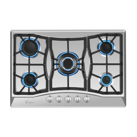 """Empava 30"""" Built-in Gas Stove Top Stainless Steel 5 Italy Sabaf Burners LPG Natural Gas Cooktop"""