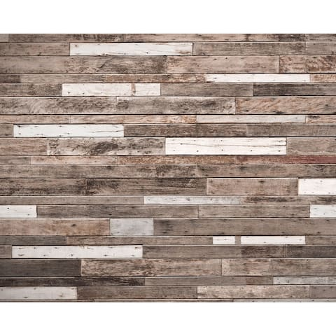 """Brewster WR50552 Wall Rogues 94"""" x 118"""" - Wooden Planks - Non-Woven Wall Mural - 6 Panels - - Brown"""