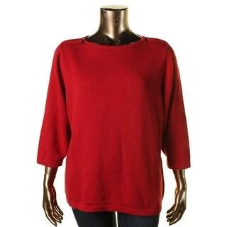 Karen Scott Womens Plus Zip Shoulder 3/4 Sleeves Pullover Sweater