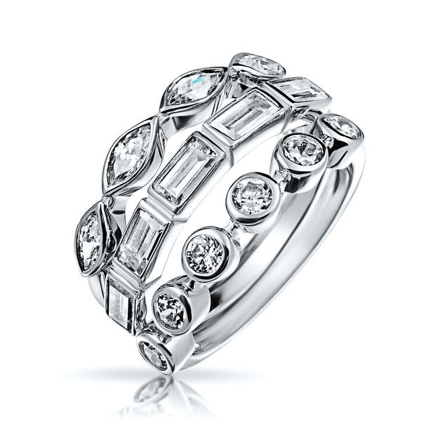 Bling Jewelry Baguette Marquise Round CZ Stackable Set of 3 Rings Silver