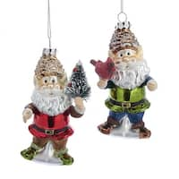 Pack of 6 Red and Green Glittery Finish Santa Claus Christmas Tree Ornaments 5""
