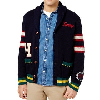 Tommy Hilfiger Blue Mens Size Large L Patched Cardigan Wool Sweater