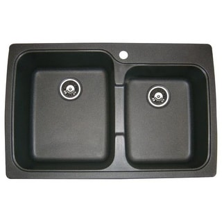 """Jacuzzi AS-US20RUSSK Astracast 33"""" Double Basin Drop-In Granite Composite Kitchen Sink"""
